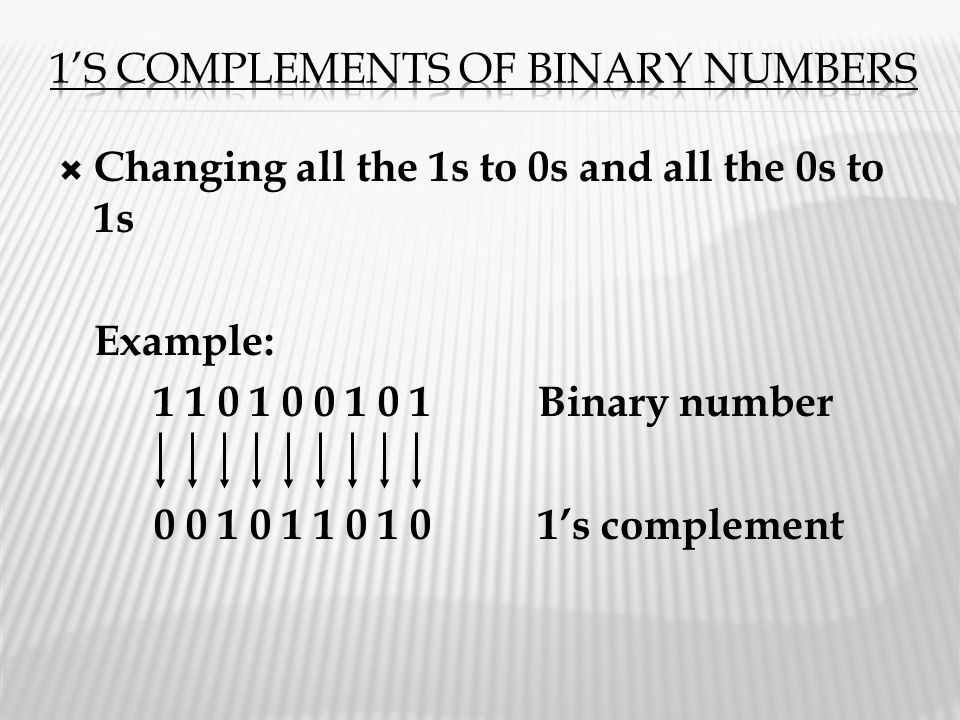  Changing all the 1s to 0s and all the 0s to 1s Example: 1 1 0 1 0 0 1 0 1Binary number 0 0 1 0 1 1 0 1 01's complement