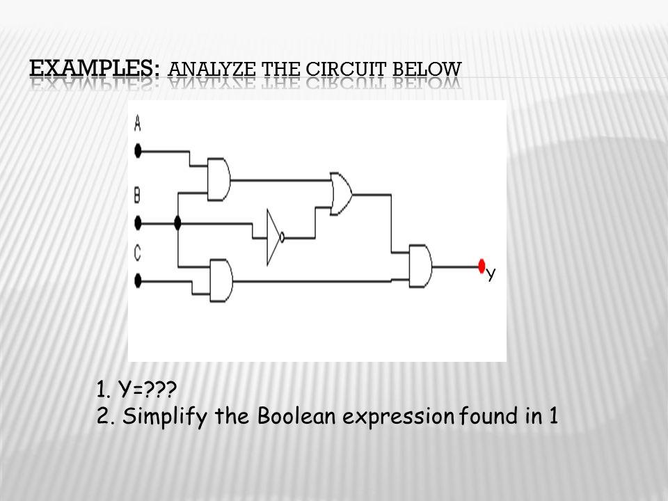 Y 1. Y=??? 2. Simplify the Boolean expression found in 1