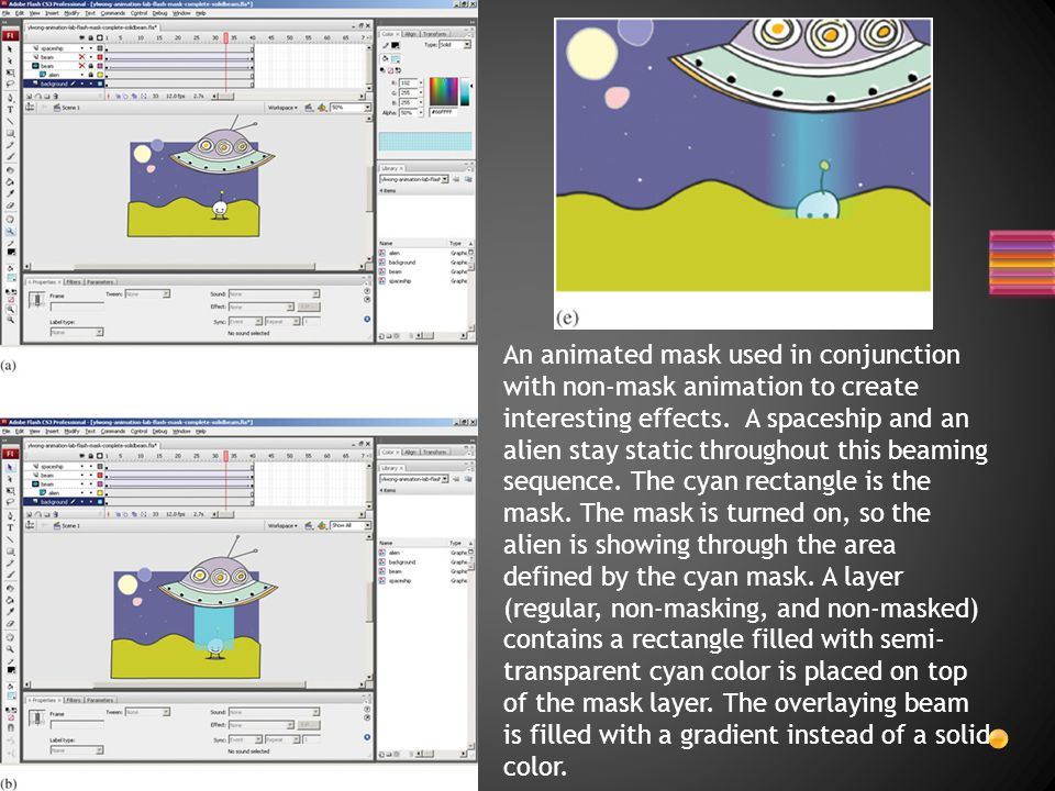 An animated mask used in conjunction with non-mask animation to create interesting effects.