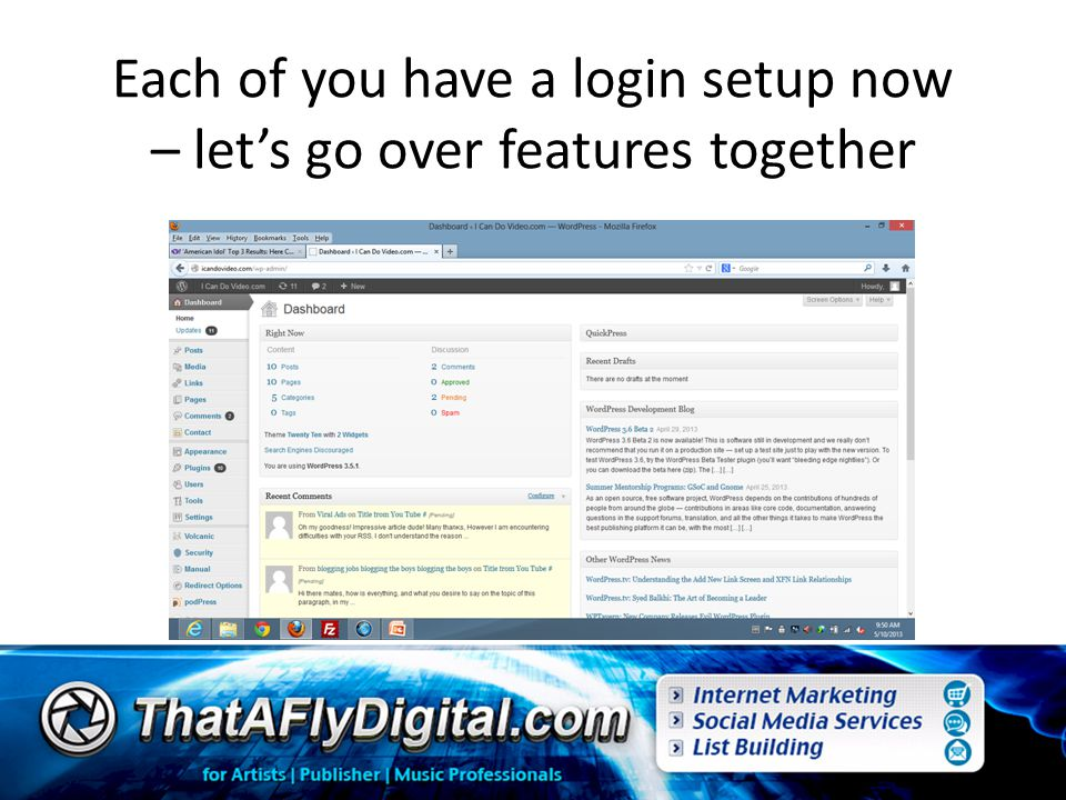 Each of you have a login setup now – let's go over features together