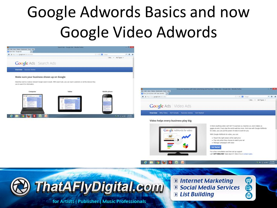 Google Adwords Basics and now Google Video Adwords