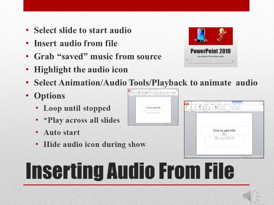PowerPoint 2010 Inserting & Recording Audio