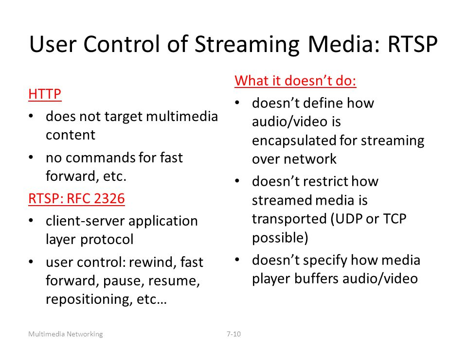 Multimedia Networking7-10 User Control of Streaming Media: RTSP HTTP does not target multimedia content no commands for fast forward, etc. RTSP: RFC 2