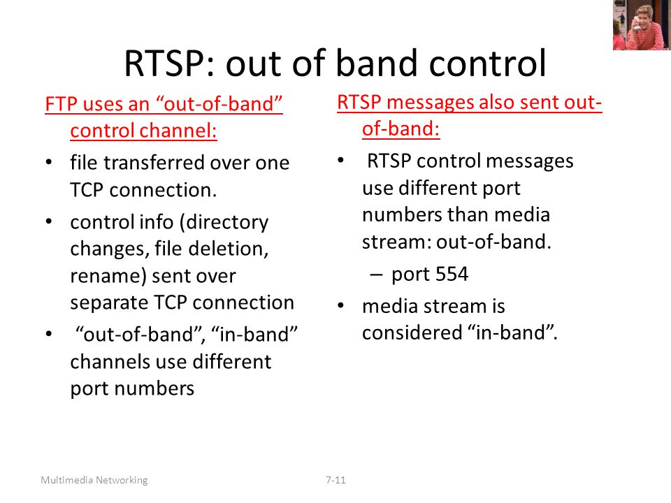 "Multimedia Networking7-11 RTSP: out of band control FTP uses an ""out-of-band"" control channel: file transferred over one TCP connection. control info"