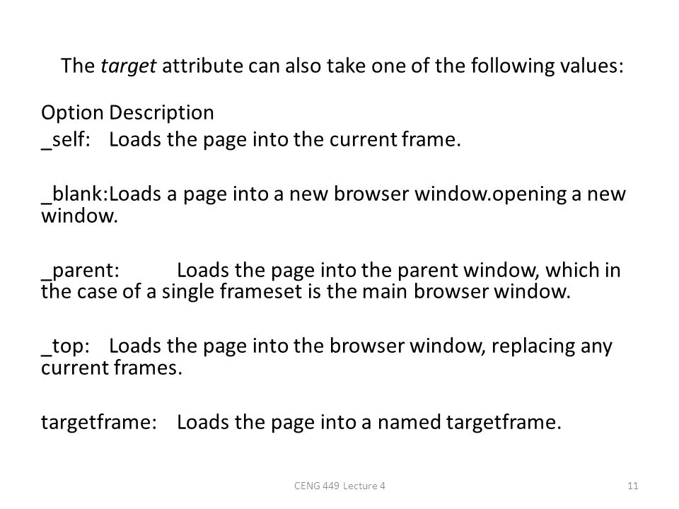 The target attribute can also take one of the following values: OptionDescription _self:Loads the page into the current frame. _blank:Loads a page int