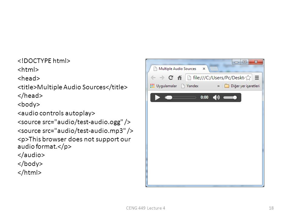 Multiple Audio Sources This browser does not support our audio format. CENG 449 Lecture 418