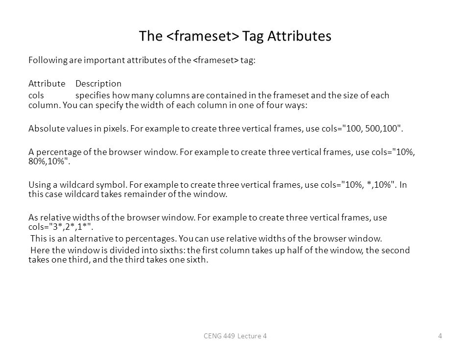 The Tag Attributes Following are important attributes of the tag: AttributeDescription colsspecifies how many columns are contained in the frameset an
