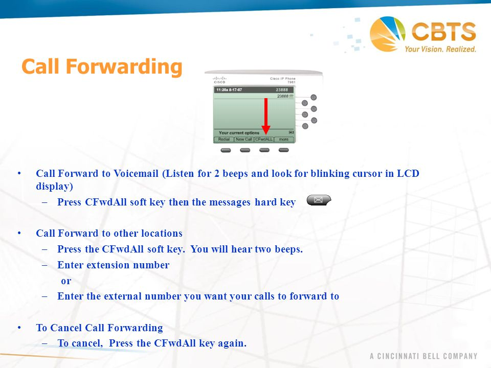 Call Forwarding Call Forward to Voicemail (Listen for 2 beeps and look for blinking cursor in LCD display) –Press CFwdAll soft key then the messages h