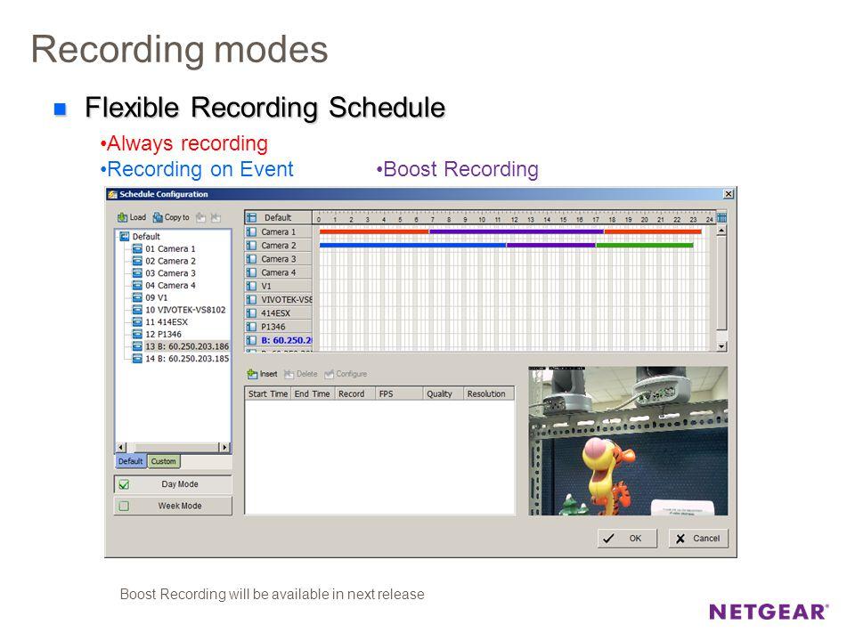 Recording modes Always recording Recording on Event Flexible Recording Schedule Flexible Recording Schedule Boost Recording Boost Recording will be av