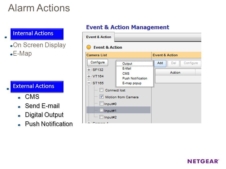 Alarm Actions Internal On Screen Display E-Map ExternalCMS Send E-mail Digital Output Push Notification External Actions Internal Actions
