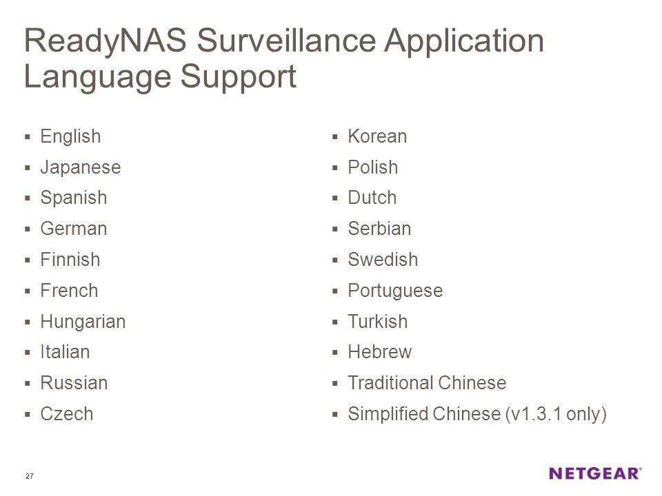 ReadyNAS Surveillance Application Language Support  English  Japanese  Spanish  German  Finnish  French  Hungarian  Italian  Russian  Czech