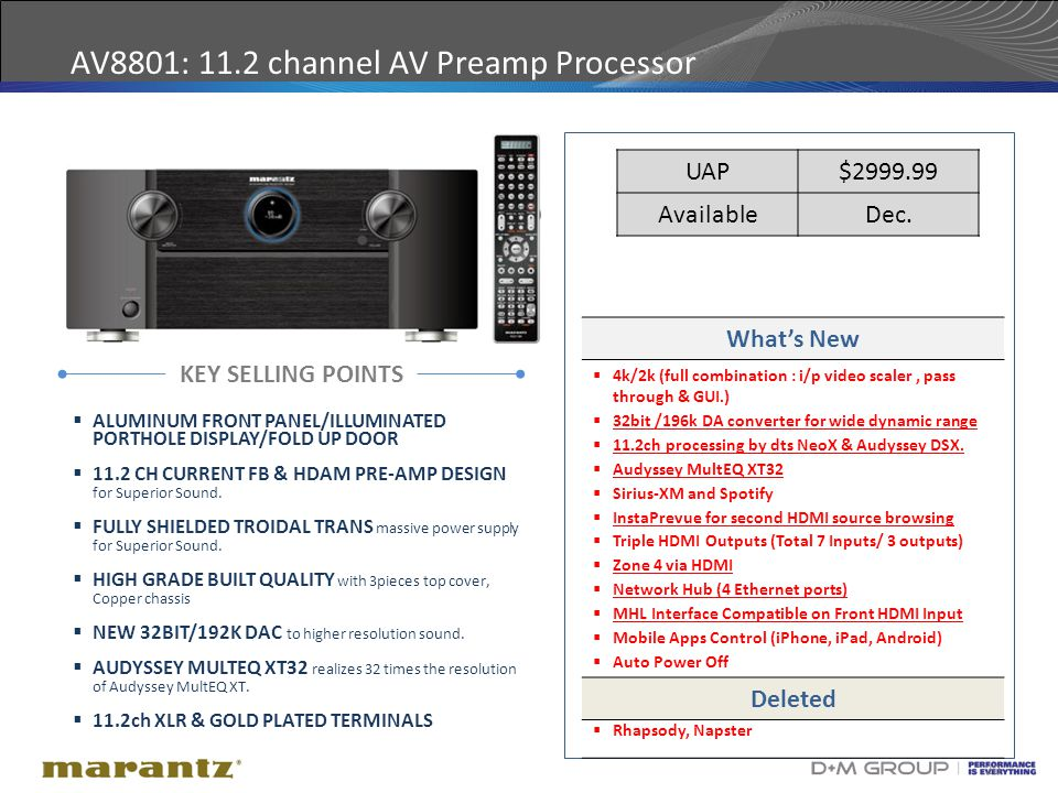 20 AV8801: 11.2 channel AV Preamp Processor KEY SELLING POINTS What's New  4k/2k (full combination : i/p video scaler, pass through & GUI.)  32bit /196k DA converter for wide dynamic range  11.2ch processing by dts NeoX & Audyssey DSX.