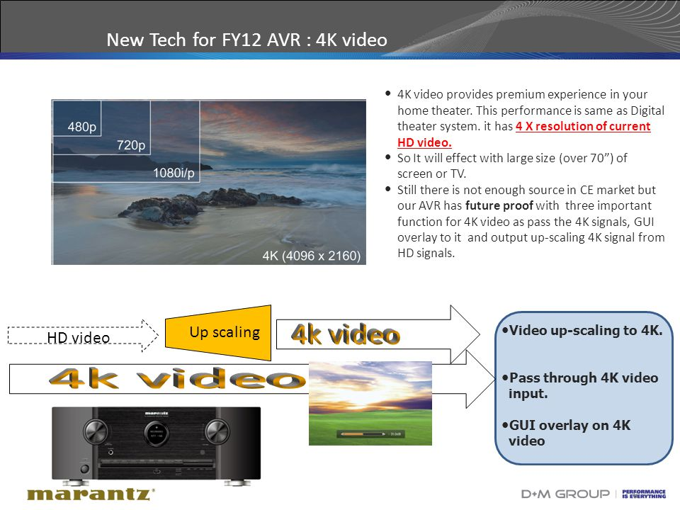 8 New Tech for FY12 AVR : 4K video 4K video provides premium experience in your home theater.