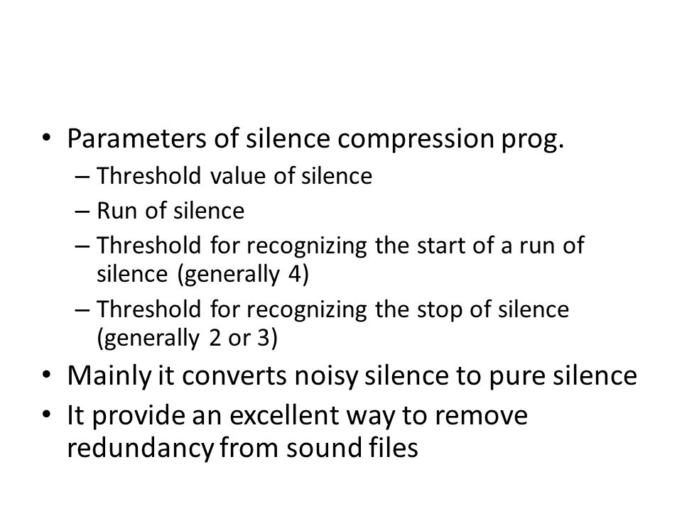 Parameters of silence compression prog.