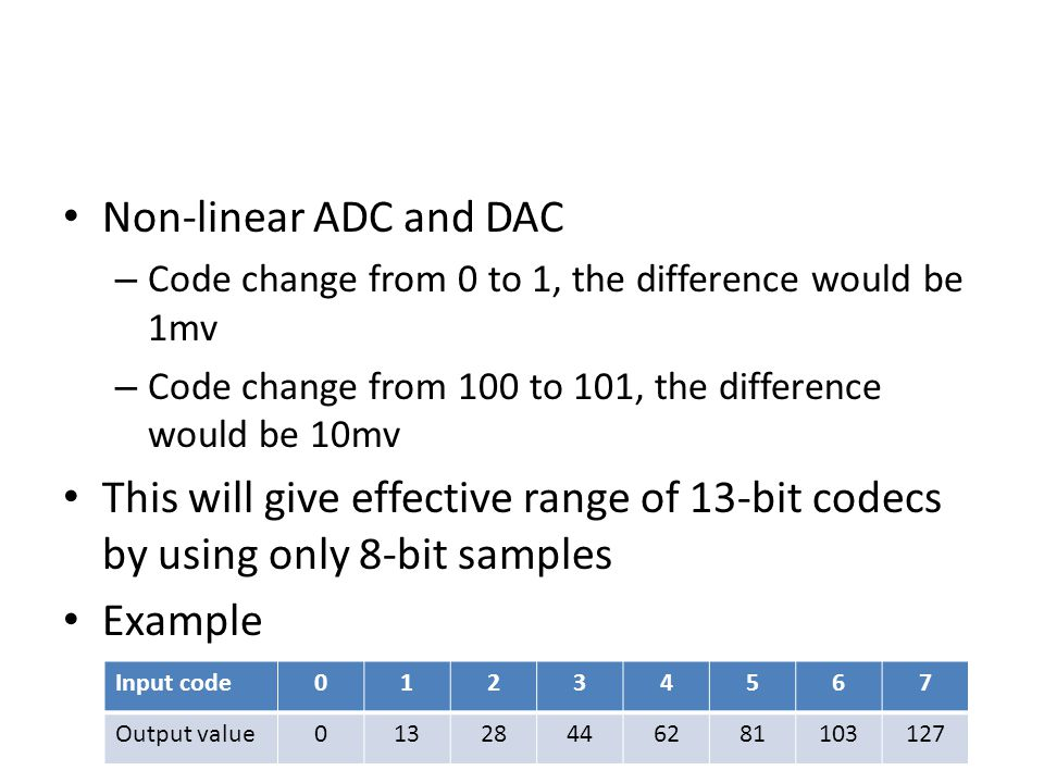 Non-linear ADC and DAC – Code change from 0 to 1, the difference would be 1mv – Code change from 100 to 101, the difference would be 10mv This will give effective range of 13-bit codecs by using only 8-bit samples Example Input code01234567 Output value01328446281103127