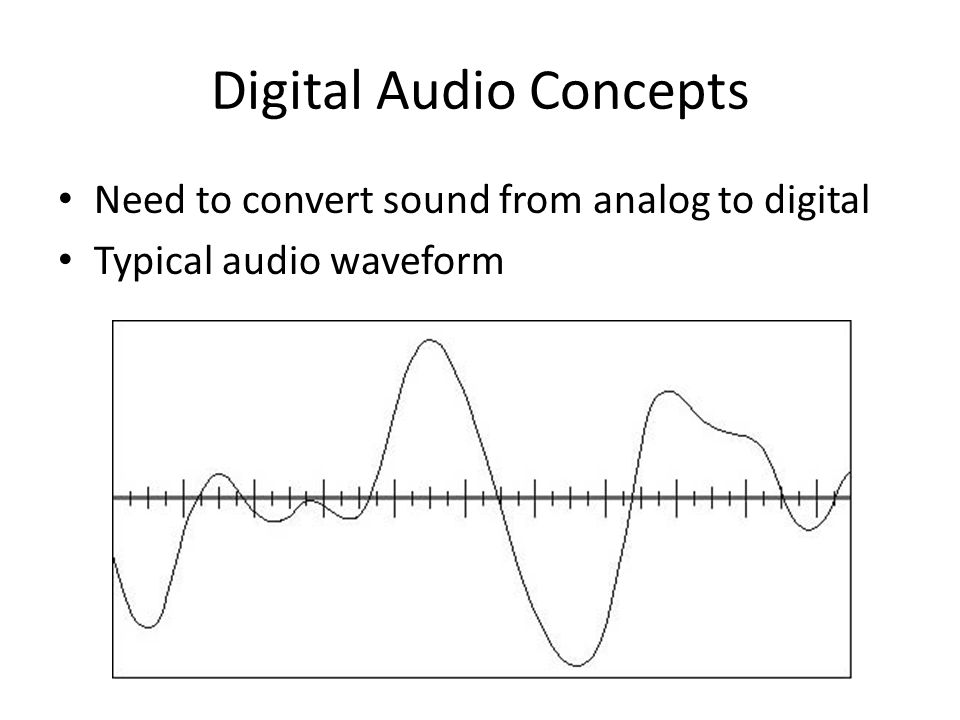 Digital Audio Concepts Need to convert sound from analog to digital Typical audio waveform