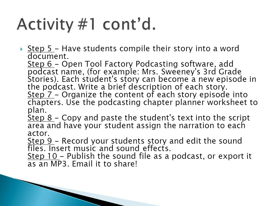  Step 5 - Have students compile their story into a word document.