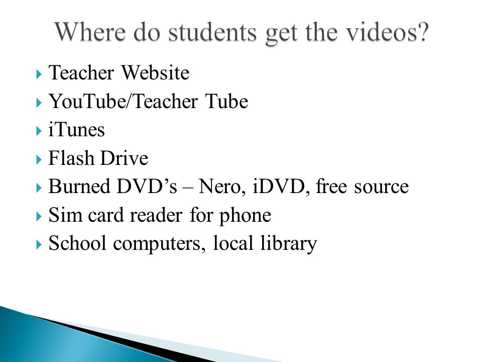  Teacher Website  YouTube/Teacher Tube  iTunes  Flash Drive  Burned DVD's – Nero, iDVD, free source  Sim card reader for phone  School computer