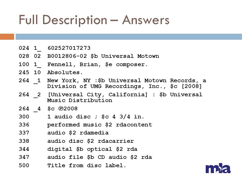 Full Description – Answers 024 1_ 602527017273 02802B0012806-02 $b Universal Motown 1001_Fennell, Brian, $e composer. 24510Absolutes. 264_1New York, N