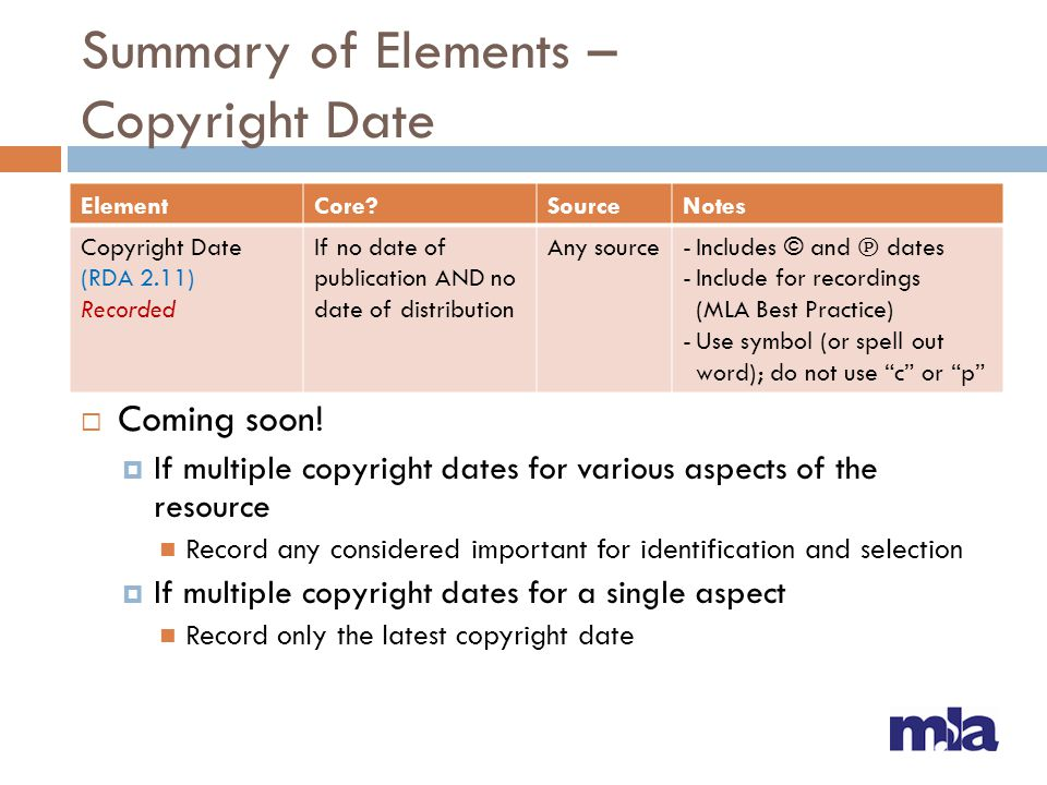 Summary of Elements – Copyright Date  Coming soon!  If multiple copyright dates for various aspects of the resource Record any considered important