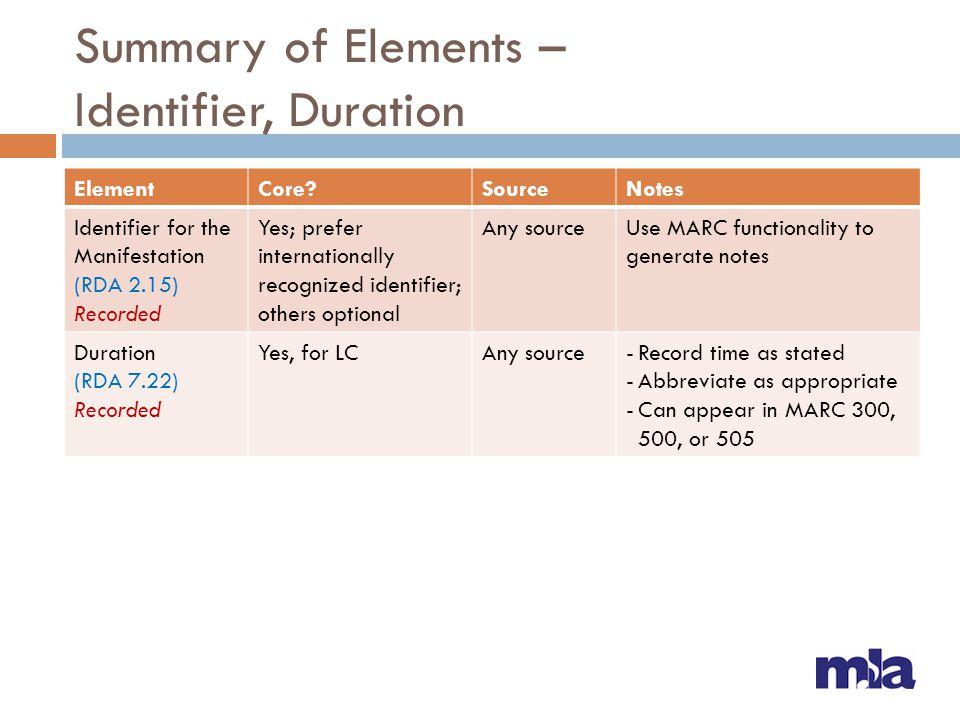 Summary of Elements – Identifier, Duration ElementCore?SourceNotes Identifier for the Manifestation (RDA 2.15) Recorded Yes; prefer internationally re