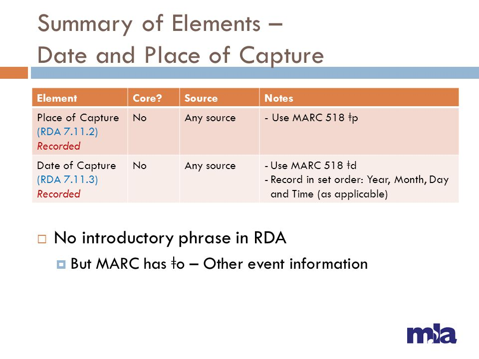 Summary of Elements – Date and Place of Capture  No introductory phrase in RDA  But MARC has ǂ o – Other event information ElementCore?SourceNotes P