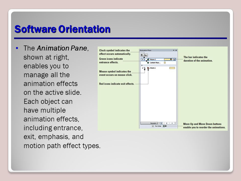 Software Orientation The Animation Pane, shown at right, enables you to manage all the animation effects on the active slide. Each object can have mul
