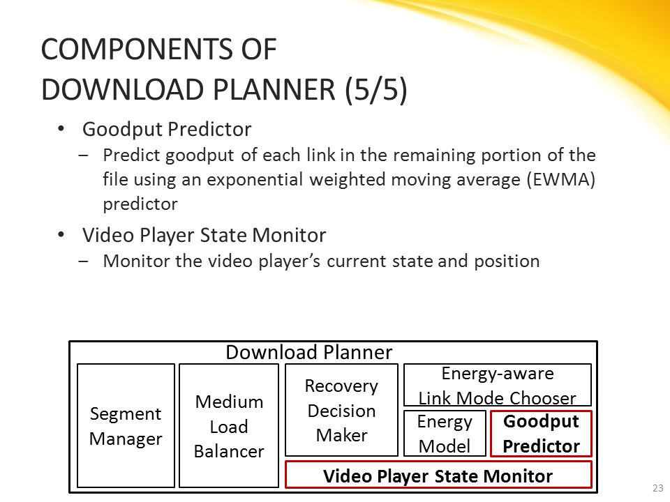 Goodput Predictor ‒Predict goodput of each link in the remaining portion of the file using an exponential weighted moving average (EWMA) predictor Video Player State Monitor ‒Monitor the video player's current state and position COMPONENTS OF DOWNLOAD PLANNER (5/5) 23 Download Planner Segment Manager Recovery Decision Maker Goodput Predictor Energy Model Energy-aware Link Mode Chooser Medium Load Balancer Video Player State Monitor