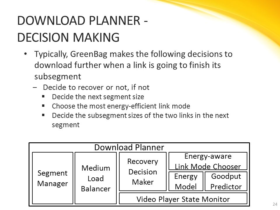 Typically, GreenBag makes the following decisions to download further when a link is going to finish its subsegment ‒Decide to recover or not, if not  Decide the next segment size  Choose the most energy-efficient link mode  Decide the subsegment sizes of the two links in the next segment DOWNLOAD PLANNER - DECISION MAKING 24 Download Planner Segment Manager Recovery Decision Maker Goodput Predictor Energy Model Energy-aware Link Mode Chooser Medium Load Balancer Video Player State Monitor