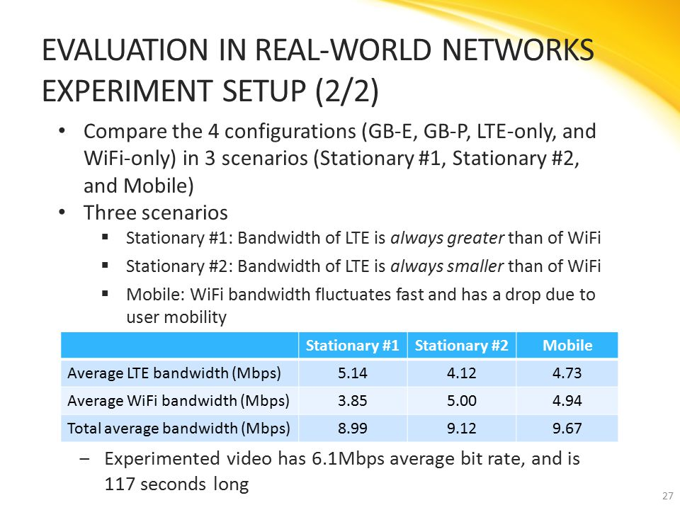 Compare the 4 configurations (GB-E, GB-P, LTE-only, and WiFi-only) in 3 scenarios (Stationary #1, Stationary #2, and Mobile) Three scenarios  Stationary #1: Bandwidth of LTE is always greater than of WiFi  Stationary #2: Bandwidth of LTE is always smaller than of WiFi  Mobile: WiFi bandwidth fluctuates fast and has a drop due to user mobility EVALUATION IN REAL-WORLD NETWORKS EXPERIMENT SETUP (2/2) 27 Stationary #1Stationary #2Mobile Average LTE bandwidth (Mbps)5.144.124.73 Average WiFi bandwidth (Mbps)3.855.004.94 Total average bandwidth (Mbps)8.999.129.67 ‒Experimented video has 6.1Mbps average bit rate, and is 117 seconds long