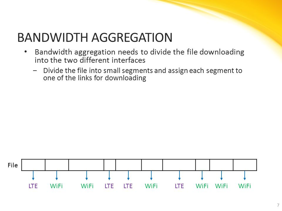 Bandwidth aggregation needs to divide the file downloading into the two different interfaces ‒Divide the file into small segments and assign each segment to one of the links for downloading BANDWIDTH AGGREGATION 7 LTEWiFi LTE WiFiLTEWiFi File