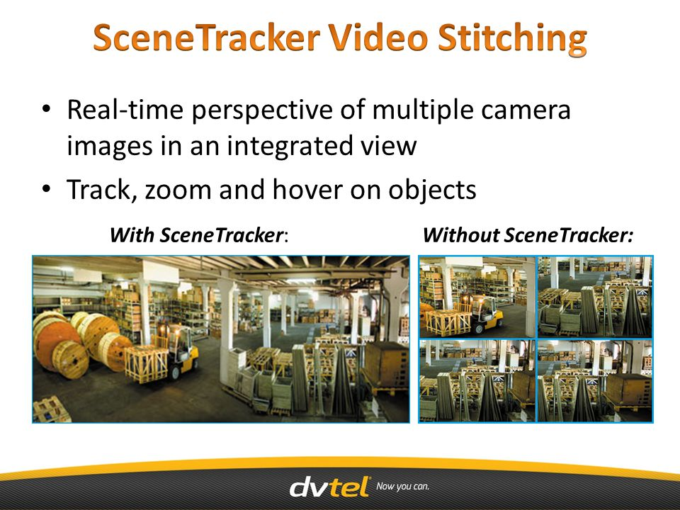 Real-time perspective of multiple camera images in an integrated view Track, zoom and hover on objects With SceneTracker: Without SceneTracker: