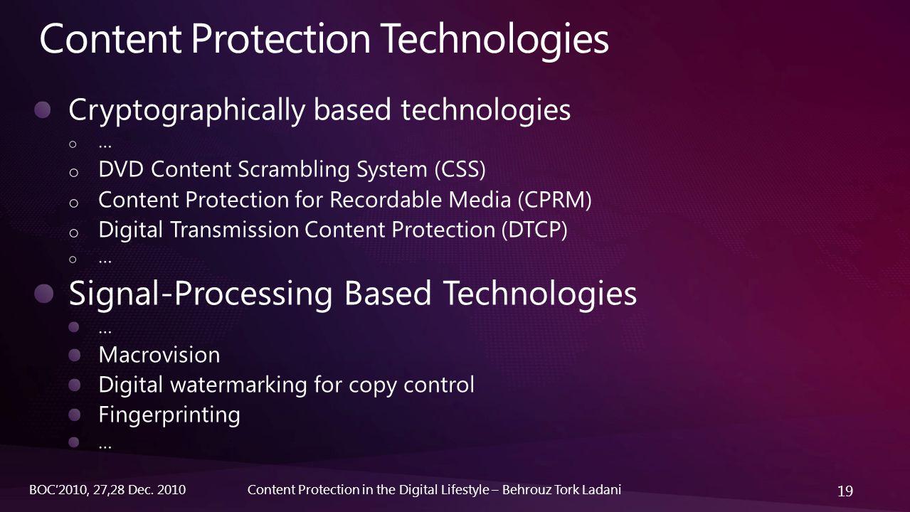 19 Content Protection in the Digital Lifestyle – Behrouz Tork LadaniBOC'2010, 27,28 Dec. 2010