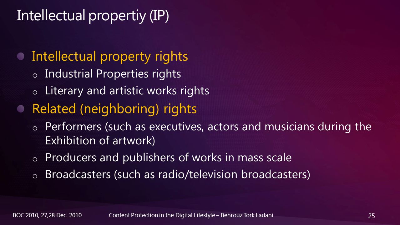 25 Content Protection in the Digital Lifestyle – Behrouz Tork LadaniBOC'2010, 27,28 Dec. 2010 Intellectual property rights o Industrial Properties rig