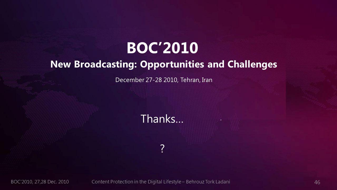 46 Content Protection in the Digital Lifestyle – Behrouz Tork LadaniBOC'2010, 27,28 Dec. 2010