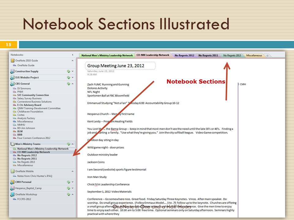 Notebook Sections Illustrated OneNote in One and a Half Hours 15