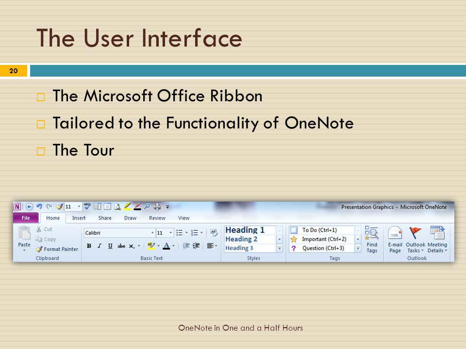 The User Interface  The Microsoft Office Ribbon  Tailored to the Functionality of OneNote  The Tour OneNote in One and a Half Hours 20