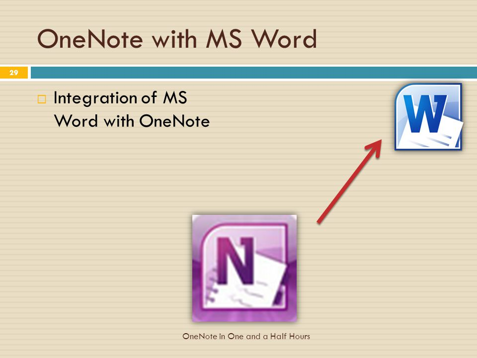 OneNote with MS Word  Integration of MS Word with OneNote 29 OneNote in One and a Half Hours
