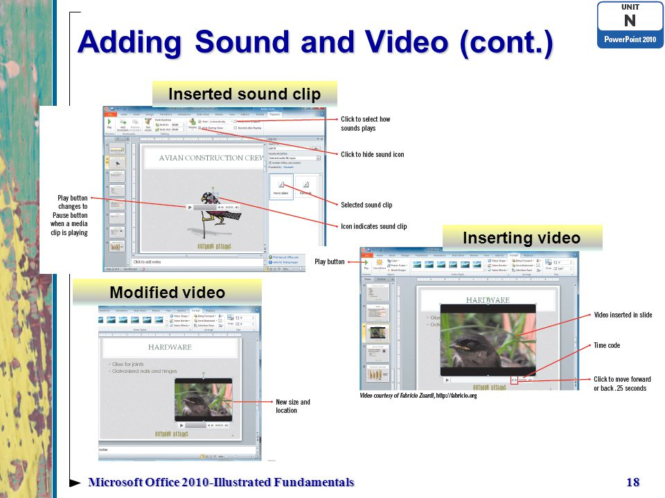 Adding Sound and Video (cont.) 18Microsoft Office 2010-Illustrated Fundamentals Modified video Inserted sound clip Inserting video
