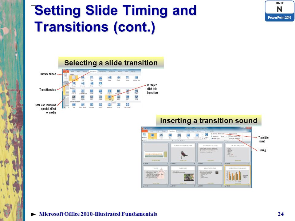 Setting Slide Timing and Transitions (cont.) 24Microsoft Office 2010-Illustrated Fundamentals Selecting a slide transition Inserting a transition sound