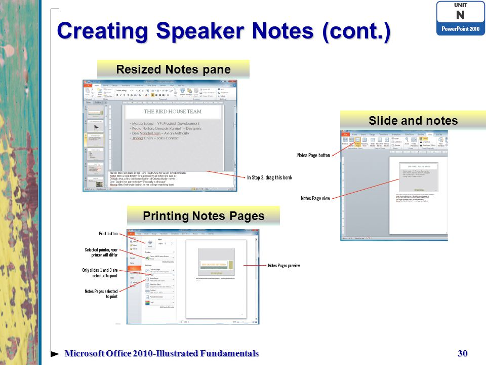 Creating Speaker Notes (cont.) 30Microsoft Office 2010-Illustrated Fundamentals Resized Notes pane Slide and notes Printing Notes Pages