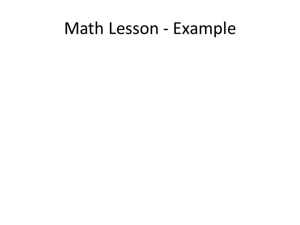 Math Lesson - Example