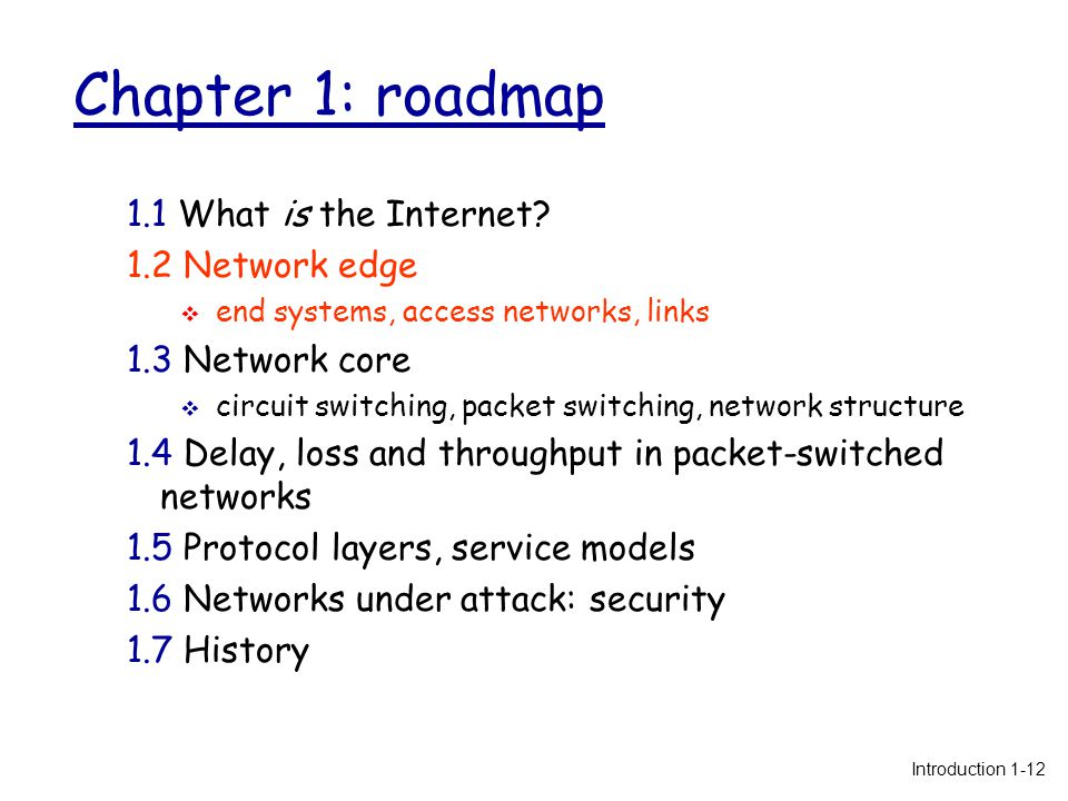 Chapter 1: roadmap 1.1 What is the Internet.