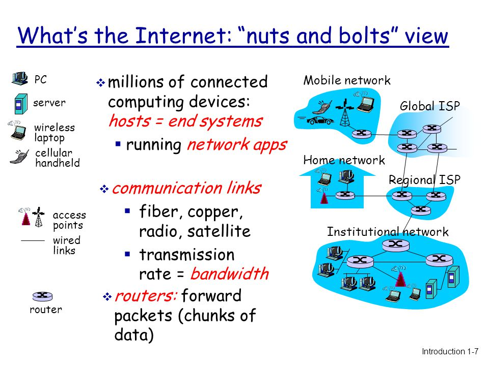 What's the Internet: nuts and bolts view  protocols control sending, receiving of msgs  e.g., TCP, IP, HTTP, Skype, Ethernet  Internet: network of networks  loosely hierarchical  public Internet versus private intranet  Internet standards  RFC: Request for comments  IETF: Internet Engineering Task Force Home network Institutional network Mobile network Global ISP Regional ISP Introduction 1-8