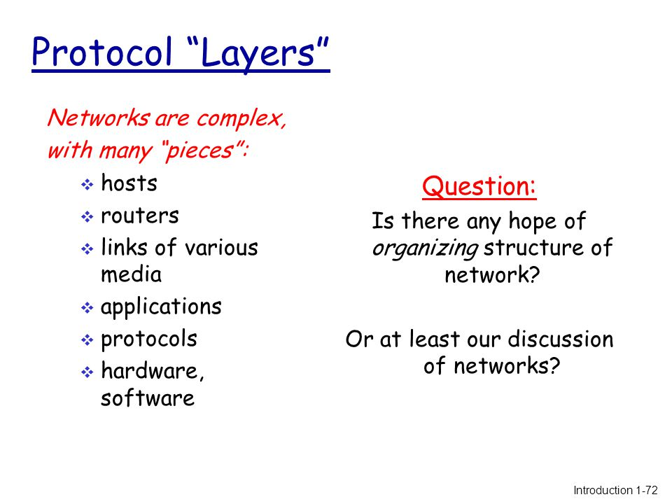 Protocol Layers Networks are complex, with many pieces :  hosts  routers  links of various media  applications  protocols  hardware, software Question: Is there any hope of organizing structure of network.