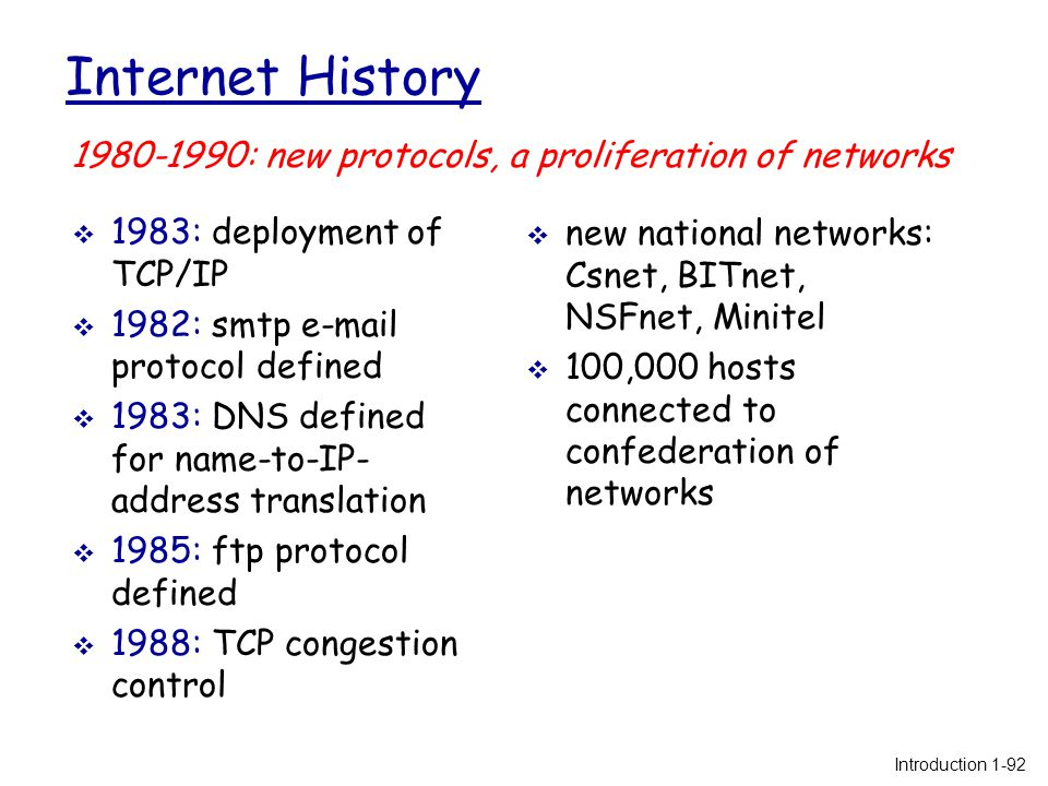 Internet History  1983: deployment of TCP/IP  1982: smtp e-mail protocol defined  1983: DNS defined for name-to-IP- address translation  1985: ftp protocol defined  1988: TCP congestion control  new national networks: Csnet, BITnet, NSFnet, Minitel  100,000 hosts connected to confederation of networks 1980-1990: new protocols, a proliferation of networks Introduction 1-92