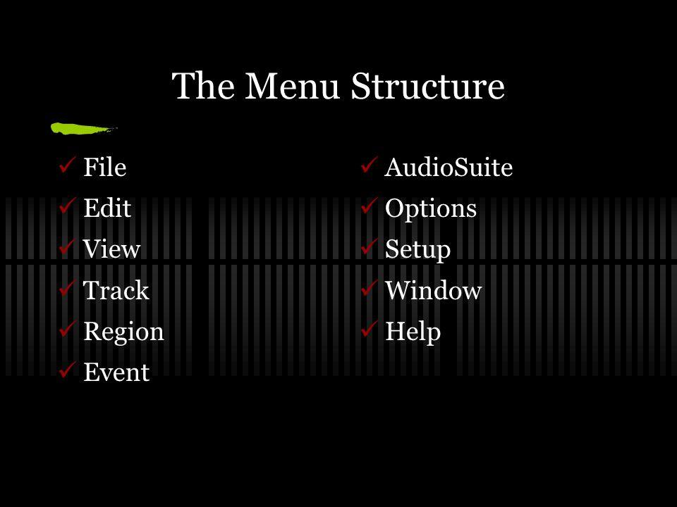 The Menu Structure File Edit View Track Region Event AudioSuite Options Setup Window Help