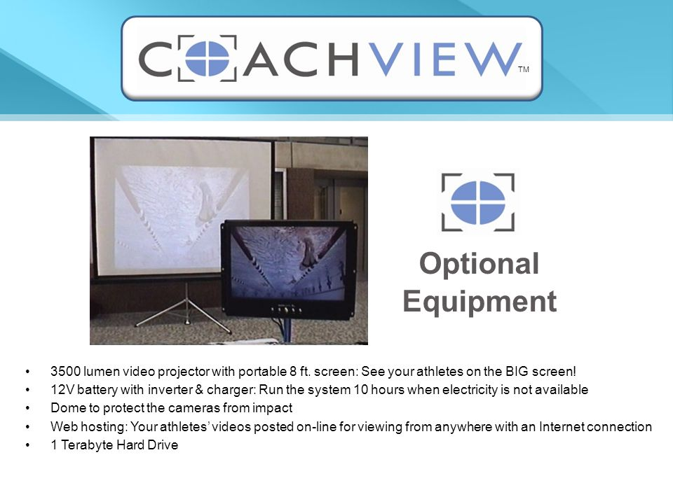 3500 lumen video projector with portable 8 ft. screen: See your athletes on the BIG screen.
