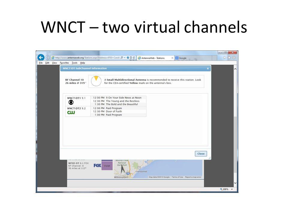 WNCT – two virtual channels