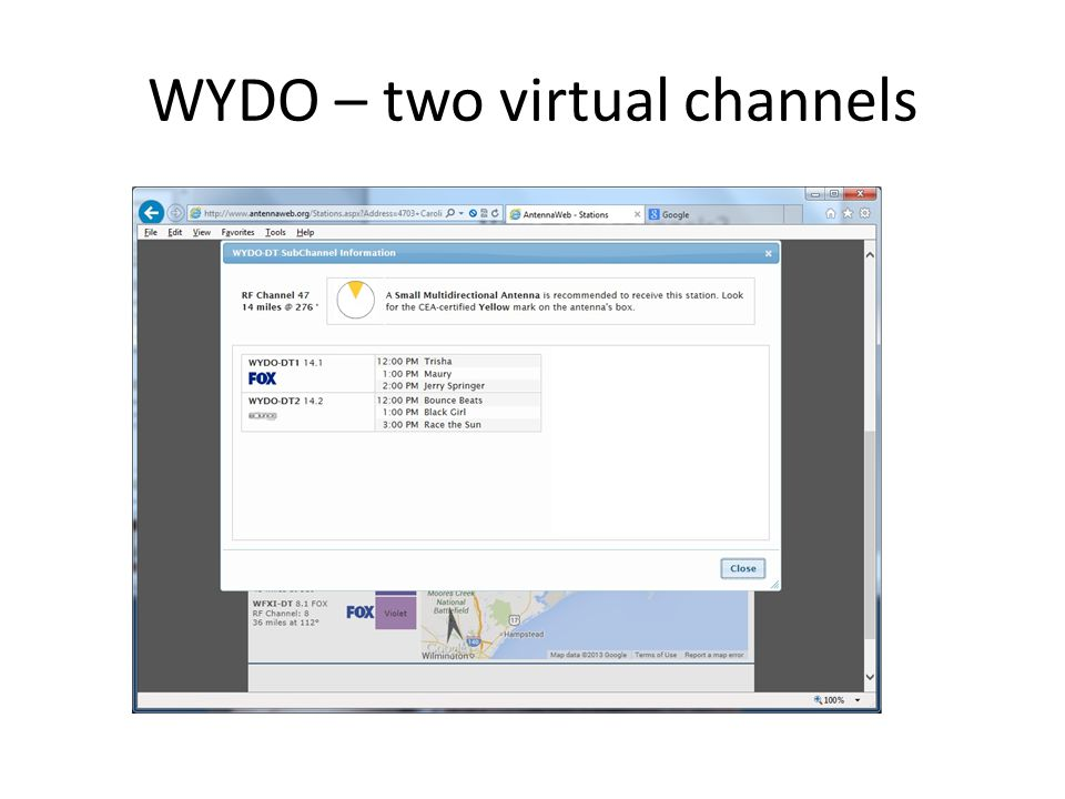 WYDO – two virtual channels